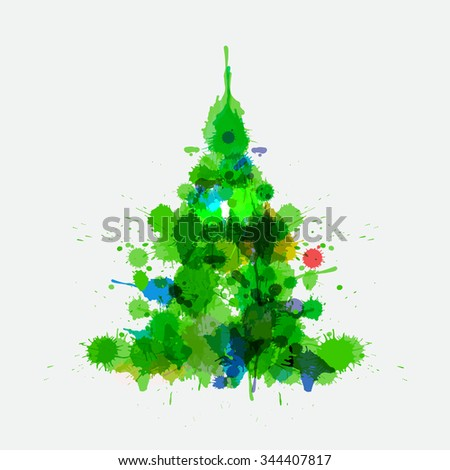 Watercolor xmas tree isolated on the gray background. Christmas tree for post card and posters. Watercolor painting imitation with spots and blur. Cute illustration for your design. - stock photo