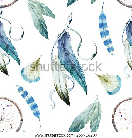 Watercolors, Drawings, Dreamcatcher, ethnic, feathers, pattern, wallpaper, background - stock photo