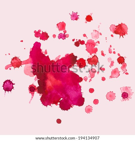 watercolour blots, splash, raster version - stock photo