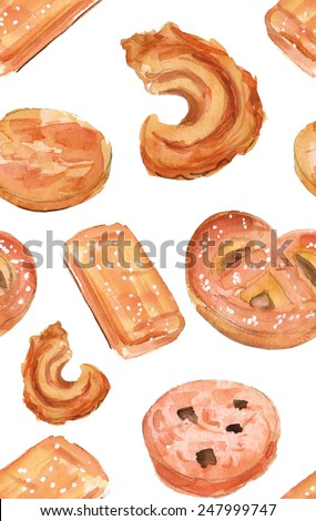 Watercolour Danish butter cookies seamless background pattern - stock photo