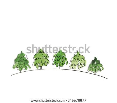 watercolour illustration of christmas trees - stock photo