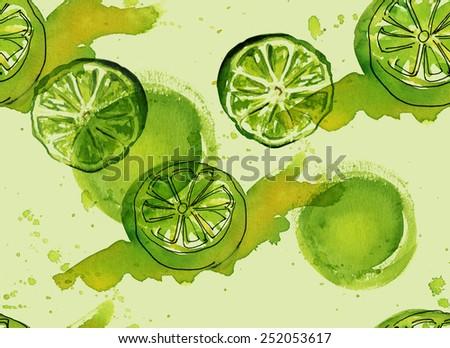 Watercolour lime seamless background pattern - stock photo