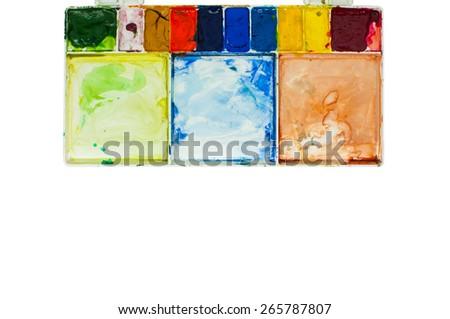 watercolour tray on whitewhite - stock photo