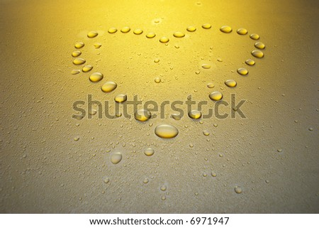 waterdrop heart. Kind under a corner. - stock photo