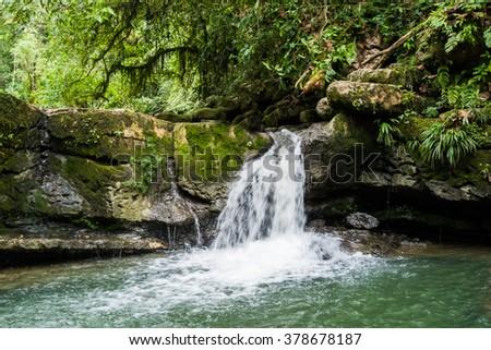 Waterfall and river in Misahualli, Amazon, Ecuador - stock photo