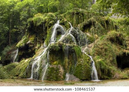 Waterfall at Baume les Messieurs, Jura - France - stock photo