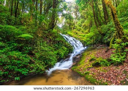 Waterfall at Doi Inthanon National park in Chiang Mai Thailand - stock photo