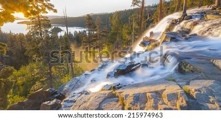 Waterfall at Emerald Bay, Lake Tahoe, USA - stock photo