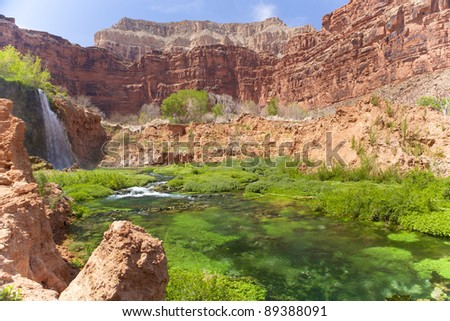 Waterfall at Havasupai - stock photo