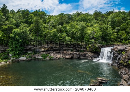 Waterfall at Little River Canyon National Preserve in northern Alabama - stock photo