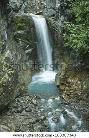Waterfall at Mr Rainier National Park, Washington - stock photo