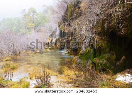 waterfall at river Cuervo in winter. Cuenca - stock photo