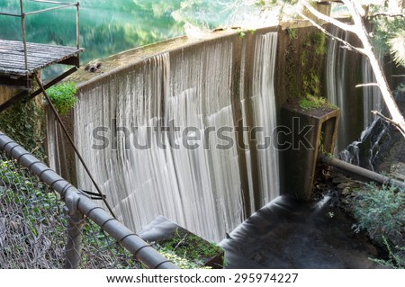 Waterfall at the Blue Lake, Jenolan Caves, Australia NSW -  home to several platypuses - stock photo