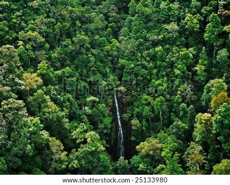 waterfall at tropical forest, top view - stock photo