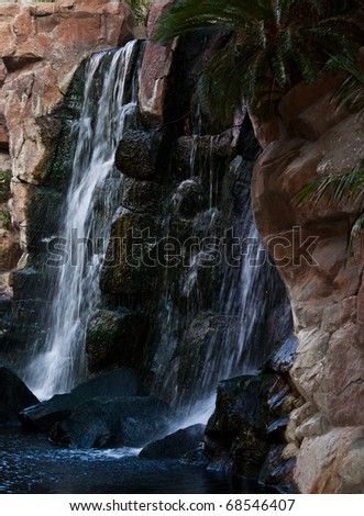 Waterfall attraction at Tropicana on the Las Vegas strip - stock photo