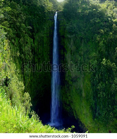 Waterfall, Big Island, Hawaii - stock photo