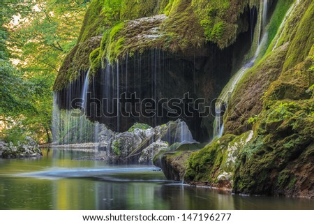 Waterfall Bigar. Located at the intersection with the parallel 45 in Romania.  - stock photo