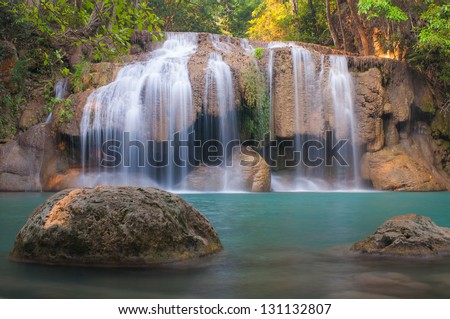 Waterfall deep forest at Erawan waterfall National Park Kanchanaburi of Thailand - stock photo