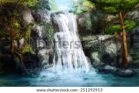 Waterfall, digital sketch - stock photo