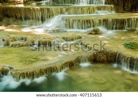 Waterfall forest Huay Mae Kamin National Park, Kanchanaburi, Thailand - stock photo