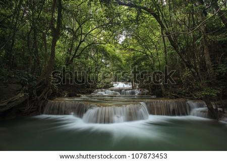 Waterfall Huay Mae Kamin in Kanchanabury, Thailand - stock photo