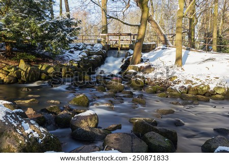 Waterfall in a city park Gdansk, Poland - stock photo