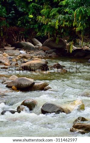 Waterfall in a Malaysian tropical jungle  - stock photo