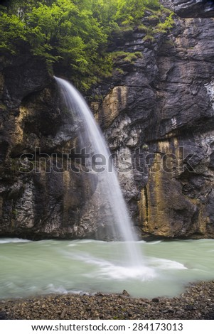 Waterfall in Aare Gorge, Switzerland - May,2015 - stock photo