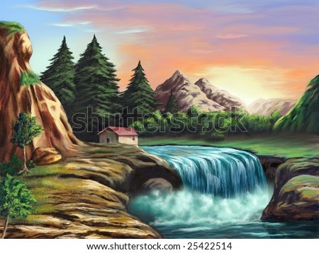 Waterfall in an imaginary landscape at sunset. Original digital illustration. - stock photo
