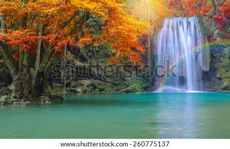 Waterfall in Deep forest at Erawan waterfall National Park - stock photo