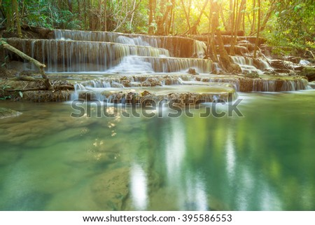 Waterfall in Deep forest at Erawan waterfall National Park, Thailand - stock photo