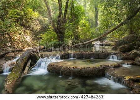 waterfall in Erawan national park , Kanchanaburi , thailand - stock photo