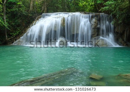 Waterfall in Erawan national park, level 2, Kanchanaburi - stock photo