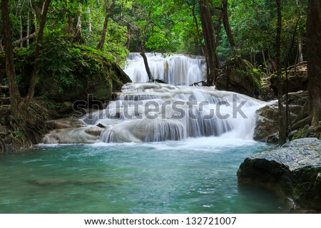 Waterfall in Erawan national park, level 1, Kanchanaburi - stock photo