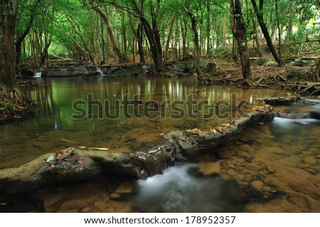 Waterfall in forest, south of Thailand - stock photo