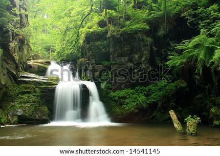 Waterfall in Jeseniky mountains in Czech - stock photo