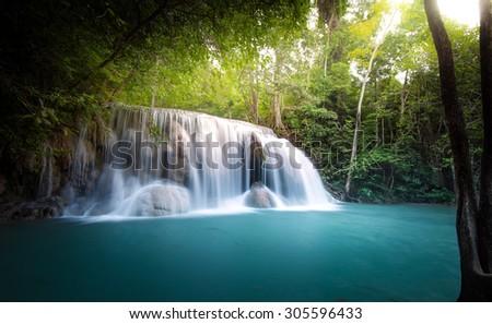 Waterfall in jungle - stock photo