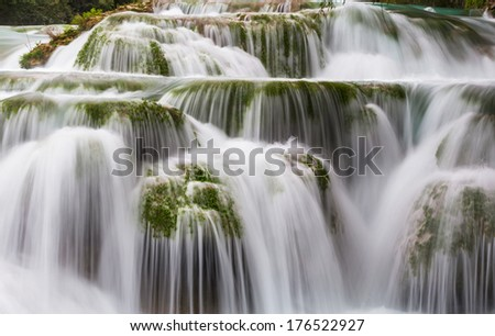 waterfall in jungle,Mexico - stock photo