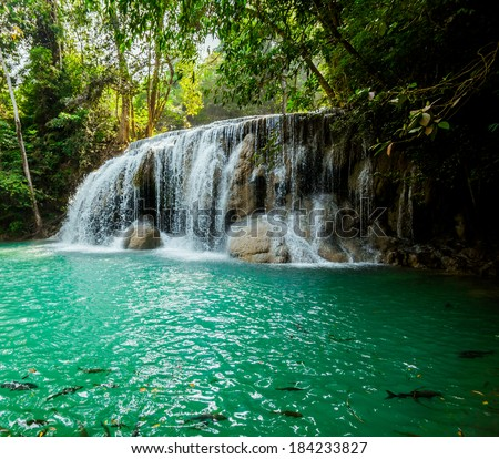 waterfall in Kanjanaburi Thailand - stock photo