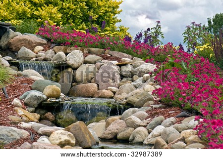 waterfall in landscaping - stock photo