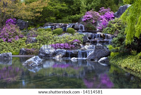 Waterfall in Montreal's Japanese botanical gardens - stock photo