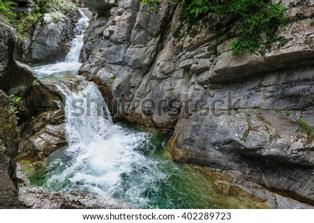 Waterfall in Olympus Mountains - stock photo