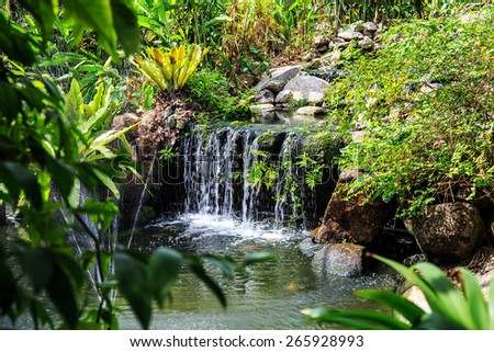 Waterfall in Phuket Butterfly Garden, Thailand. Shot through the foliage - stock photo