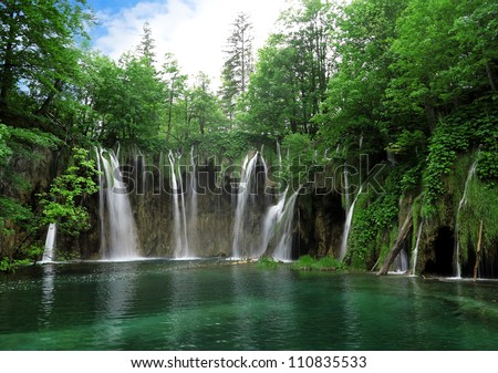 Waterfall in Plitvice National Park, Croatia - stock photo