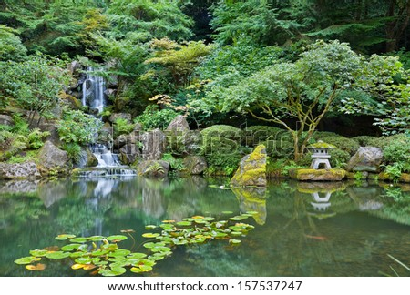 Waterfall in Portland Japanese Garden  - stock photo