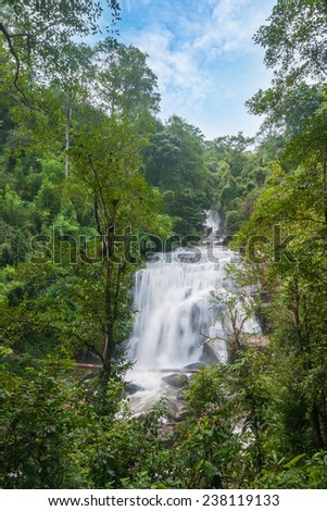 Waterfall in slow shutter speed. Siritharn waterfall, Inthanon national park, Chiangmai, Thailand. - stock photo