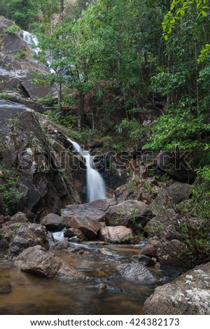 Waterfall in thai national park - stock photo