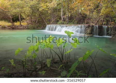 Waterfall in Thailand tropical forest  - stock photo