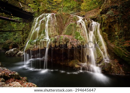 waterfall in the forest, Bigar, Romania - stock photo