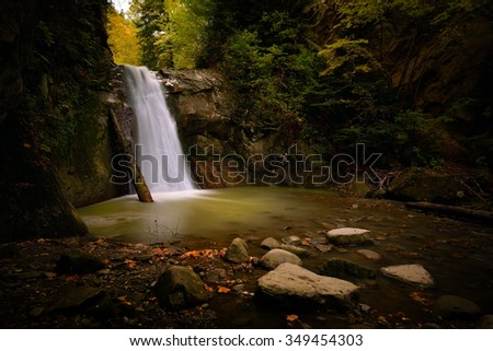 waterfall in the forest, Casoca, Buzau county, Romania - stock photo